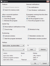 USB Disk Ejector Beta 2 - Options Window